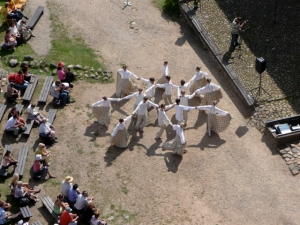 Folk dancing is best viewed from a high place. The pictures are better. Folk dancers in Latvia. (Photo: Brett Neely, 2009)